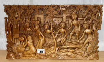 Indonesian hand carved wooden wall panel/mural depicting villager's preparing a feast scene A/F