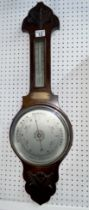 Oak cased aneroid Barometer - with plaque commemorating the retirement of officer PC Shackson by