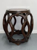 Chinese rosewood drum stool on interlocking design, approx. height 17.5 inches