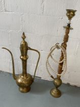 A Far Eastern/Indian Hookah pipe and decorative brass ewer (two items in lot)
