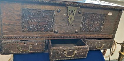 Middle Eastern ornate coffer/trunk with candle box to interior and three storage drawers, metal
