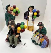 Royal Doulton figures of Balloon sellers/silk & ribbon figures - model nos. H.N 583, 1954, 2935,