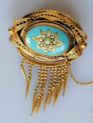 A Victorian yellow metal, turquoise and seed pearl brooch with tassels, unmarked, 6 x 4 cm, 16.4g