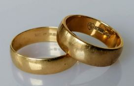 Two 9ct yellow gold wedding bands, sizes L, Q, hallmarked, both 5mm, 6.31g