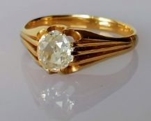 A mid-20th century gypsy ring with an old-cut diamond, approximately 0.75 carat, unmarked