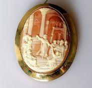 A 9ct gold-framed cameo brooch, 6 x 5 cm, hallmarked, 16.31g