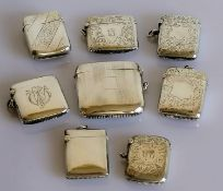 A selection of eight late Victorian/Edwardian silver vesta cases, various makers/dates to include
