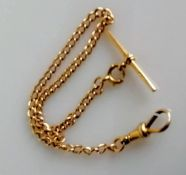 A 15ct gold Albert chain, stamped to bar and clasp, 25 cm, 12.78g