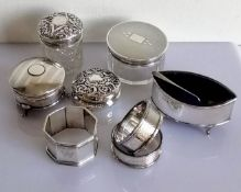 Two silver topped jars, two trinket boxes, an oval salt with blue glass liner and three (initialled)