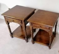 A pair of Harrods Royal Oak Furniture bedside tables with frieze drawers, rope twist legs and