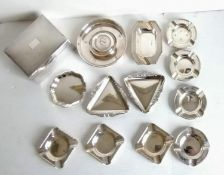 An assortment of twelve smaller silver ashtrays, mostly mid-20th century by Sanders & Mackenzie,