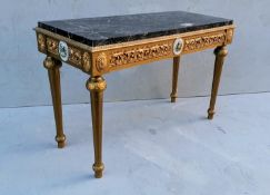A Louis XV-style side or centre table with veined marble oblong top, gilt frieze with scroll