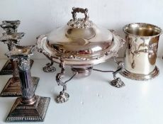 A Victorian silver plated food warmer with burner, crested, 27 cm diameter, a wine cooler, 15.5 cm