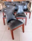 A set of six leather upholstered Ralph Lauren Polo dining chairs, each 96 cm H and labelled.