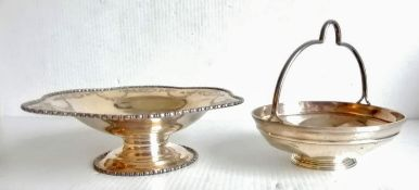 An Edwardian silver tazza with beaded and etched decoration by Atkin Brothers, 1909 and a George V