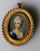 An Italian 18ct yellow gold-framed oval miniature portrait of a lady, indistinctly signed, stamped