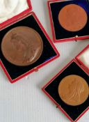 A cased bronze commemorative medal of the Golden Jubilee of Queen Victoria, 1887 by J E Boehm,