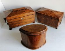 A George III rosewood sarcophagus tea caddy with side ring handles, ivory escutcheon, original