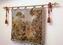 An Aubusson pastoral tapestry, probably mid-20th century, woven and silk-lined depicting an Arcadian