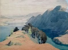 William Heaton Cooper R. I. (1903-1995), ULLSWATER FROM ABOVE GLENCOYNE, watercolour and pencil,