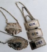 Three 1970's silver bottle labels with blue enamel lettering, another 'Vodka', 1968 by Turner &
