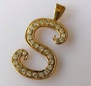 A mid-century yellow gold and pave-set diamond S-shape pendant, approximate total diamond weight 2