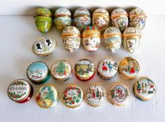 A selection of hinged Halcyon Days Enamels trinket boxes for Easter 1973-1984 (except 1980, 1983)