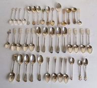 A selection of mostly Victorian tea spoons, some in sets of five and fours, souvenir spoons,