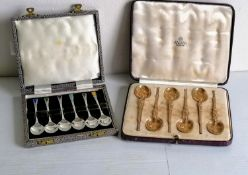 A cased set of six George V silver-gilt anointing spoons by Saunders, Shepherd & Co Ltd., London,