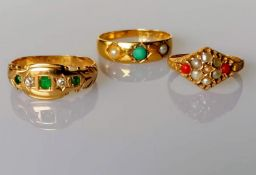 An 18ct yellow gold gypsy ring of tapering form, , 2.39g; a 15ct yellow gold ring with seed pearl