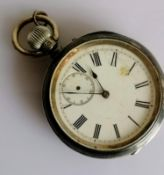 A Victorian silver-cased pocket watch, stem-wind, Roman numerals, subsidiary seconds hand missing,