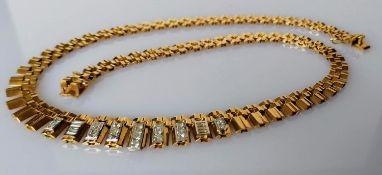 A mid-century bib necklace with graduating links with diamond decoration, 44 cm, indistinct marks,