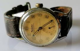 A Rotary Super-Sports wristwatch with subsidiary seconds dial, Arabic numerals, cream dial,