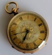 A late 19th century key-wind French fob watch with gold etched case, Roman numerals, dial 38mm,
