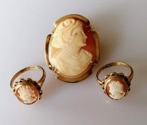 An oval cameo brooch, unmarked with a pair of matching cameo rings, hallmarked, sizes M1/2, O1/2,