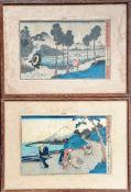 Kunisada Utagawa (Japanese, 1786-1864) two coloured woodblock prints, framed and mounted, each 24.