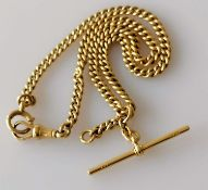 A George V 18ct yellow gold curb-link Albert chain with swivel clasp and T-bar hallmarked for J.
