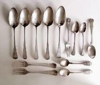 Two George III Old English silver table spoons by Thomas Liddiard, London, 1784,