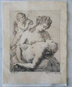 After Carracci, Angelica Kauffmann (Swiss, 1741-1807) Venus and Adonis, etching, 1770, 23 x 18 cm