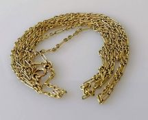 A gold fancy link fob chain, 148 cm, stamped 9ct, 24g