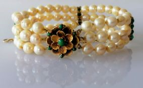 A mid-century pearl, gold and turquoise cuff bracelet with floret clasp, hallmarked 9ct, 17.5 cm