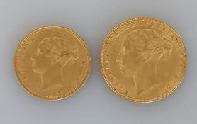 A Victorian full and half gold sovereign, both 1880 (2)
