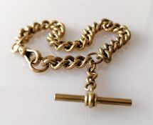 A vintage yellow gold Albert curb-link chain with T-bar and swivel clasp, unmarked, test for 9ct, 22