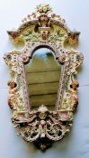 A late 19th Century Hugo Lonitz majolica wall mirror, impressed two fish mark and pattern number