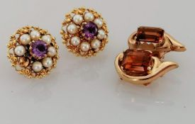 A pair of 9ct gold earrings with amethyst and pearl decoration, hallmarked, 6g, one pearl missing