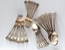 An assortment of King's Pattern silver flatware, comprising six William IV entree forks, four by
