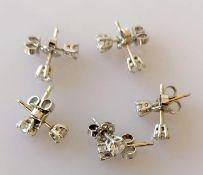 Five pairs of 18ct white gold, brilliant-cut diamond earrings, each diamond 0.10 carat