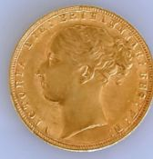 A Victorian gold full sovereign, 1876