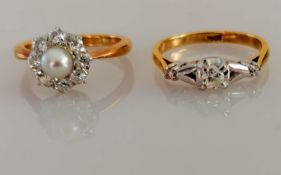 A pearl and diamond floret ring, each of the eight diamonds approximately 0.075 carats, size K, 4.
