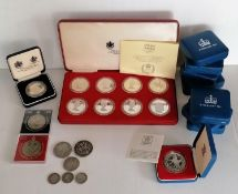 A 1977 Silver Jubilee Crown presentation set by Spink & Son, comprising eight silver proof crowns;